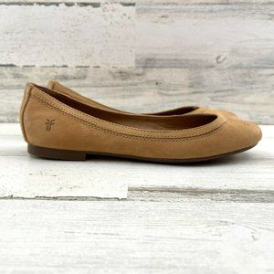 Frye Carrie Leather Ballet Flat Slip On Topstitche